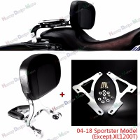 Chrome Fixed Mount&Driver Passenger Backrest For Harley 2004 2014 2015 2016 2017 Sportster XL Iron 883 1200 48