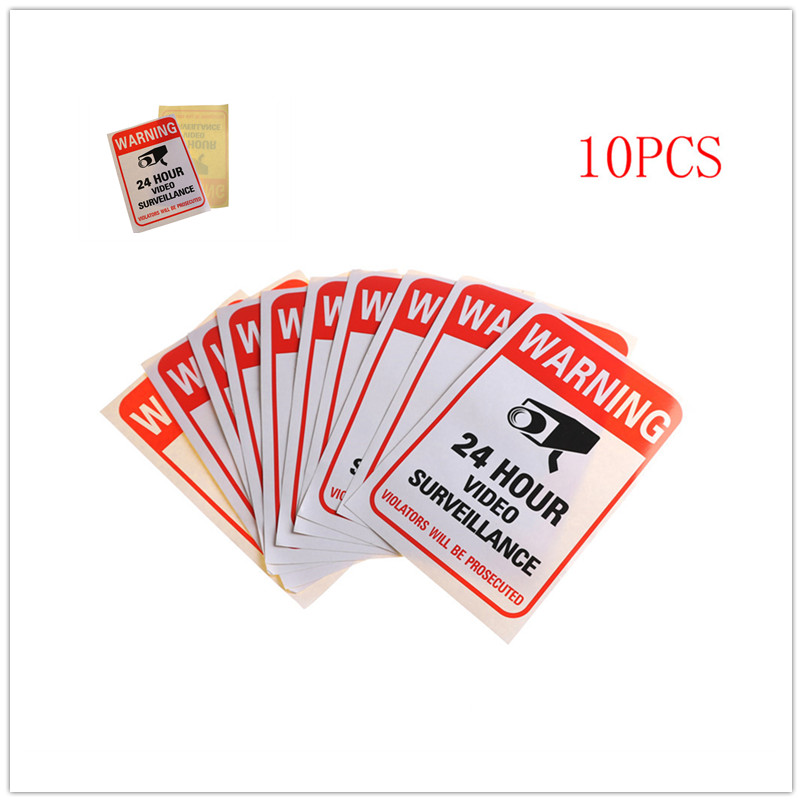 10pcs Signs Sticker Waterproof Home CCTV Video Surveillance Security Camera Alarm Sticker Warning Signs Security Notice signs