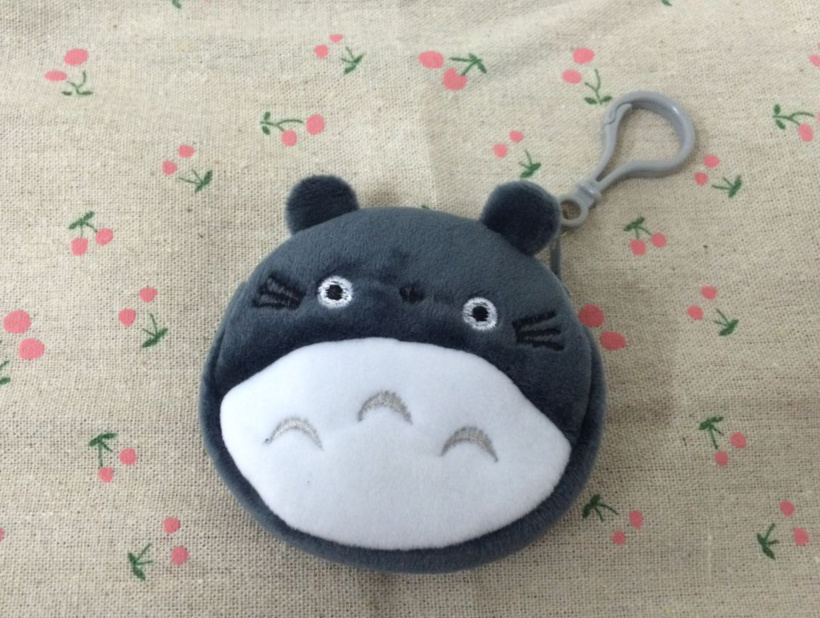 Mini 8CM Small TOTORO Lady Girl's Plush Coin Purse Wallet Pouch ; Gift key hook Coin BAG Pouch Wallet