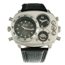 Reloj Militar Oulm Hombres Reloj de Cuarzo de Lujo Banda de Cuero Genuino Para Hombre Reloj relogio masculino