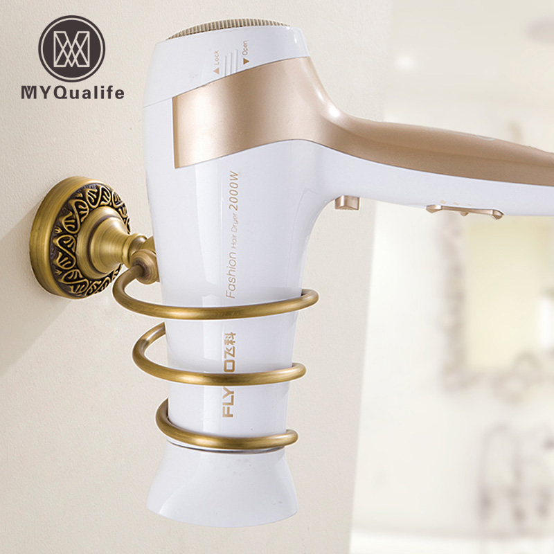 Free Shipping Wholesale And Retail High-end Wall Mount Hair Dryer Holder Rack Brass Hair Drier Storage Organizer free shipping one pair copper colour max series gold plated hi end us ac plug