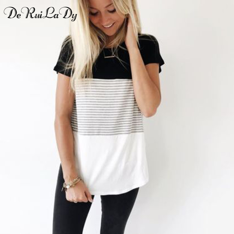 DeRuiLaDy Women New Summer Fashion T-shirt O-Neck Short Sleeve Striped T shirts Female Casual Tops Tees