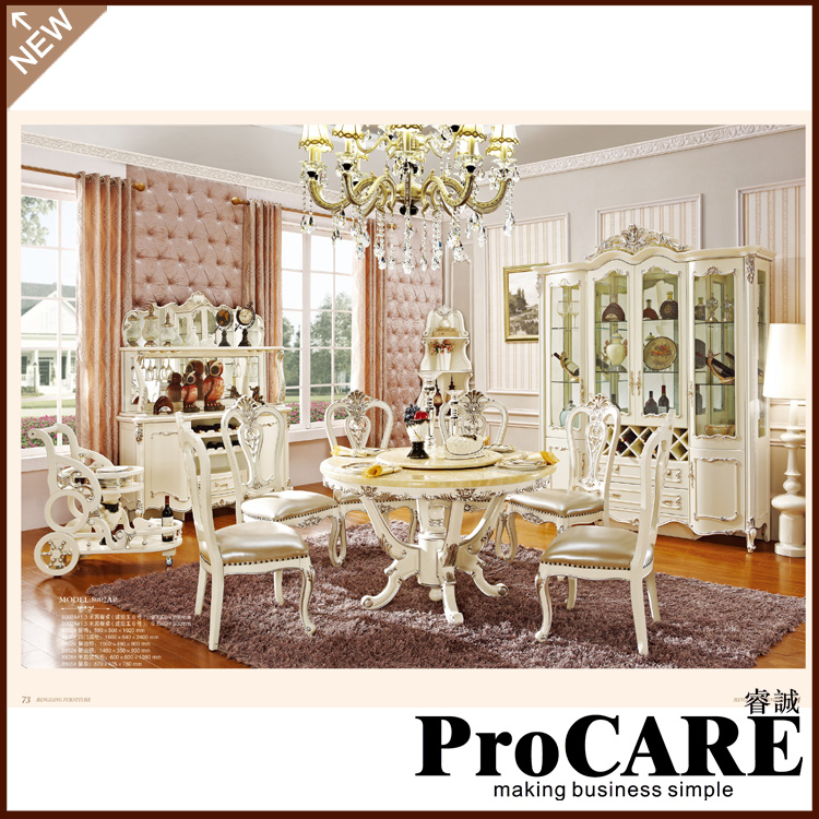 Made In China Antique Design Royal Wood Dinning Table Set