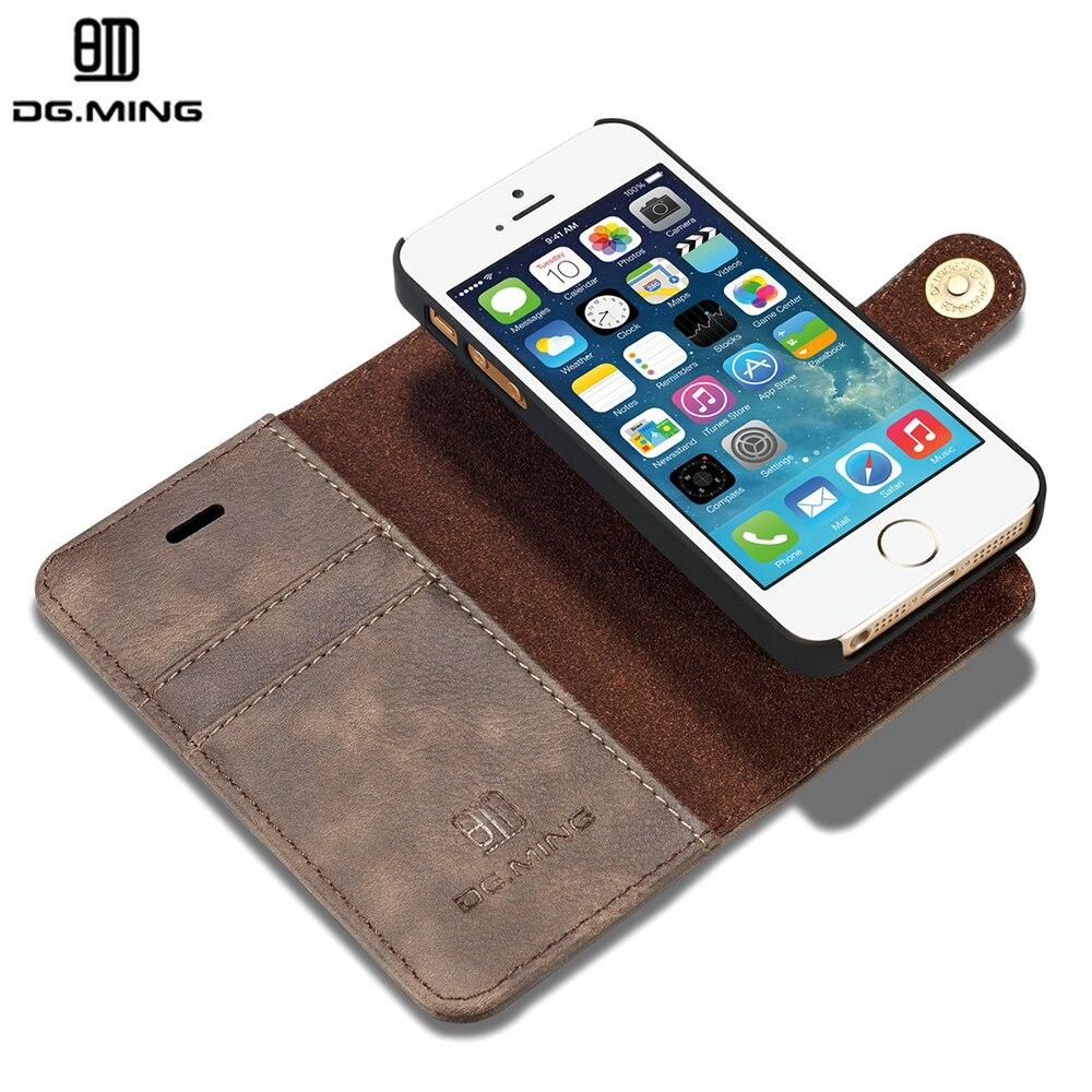 imágenes para Dg. ming magnética cartera de lujo cubierta de cuero genuino flip case para el iphone sí 5 5S capinha coque de para iphone se case case cubierta