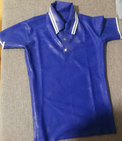 In Stock Nature Latex Men's Shirt Skin Tight Latex Zentai Polo shirt 0.4MM S Size Blue &withe Color