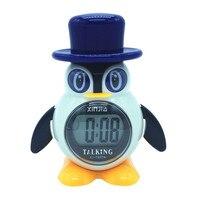 Spaans Talking LCD Digitale Wekker Pinguïn Vorm Cadeaus voor Kinderen