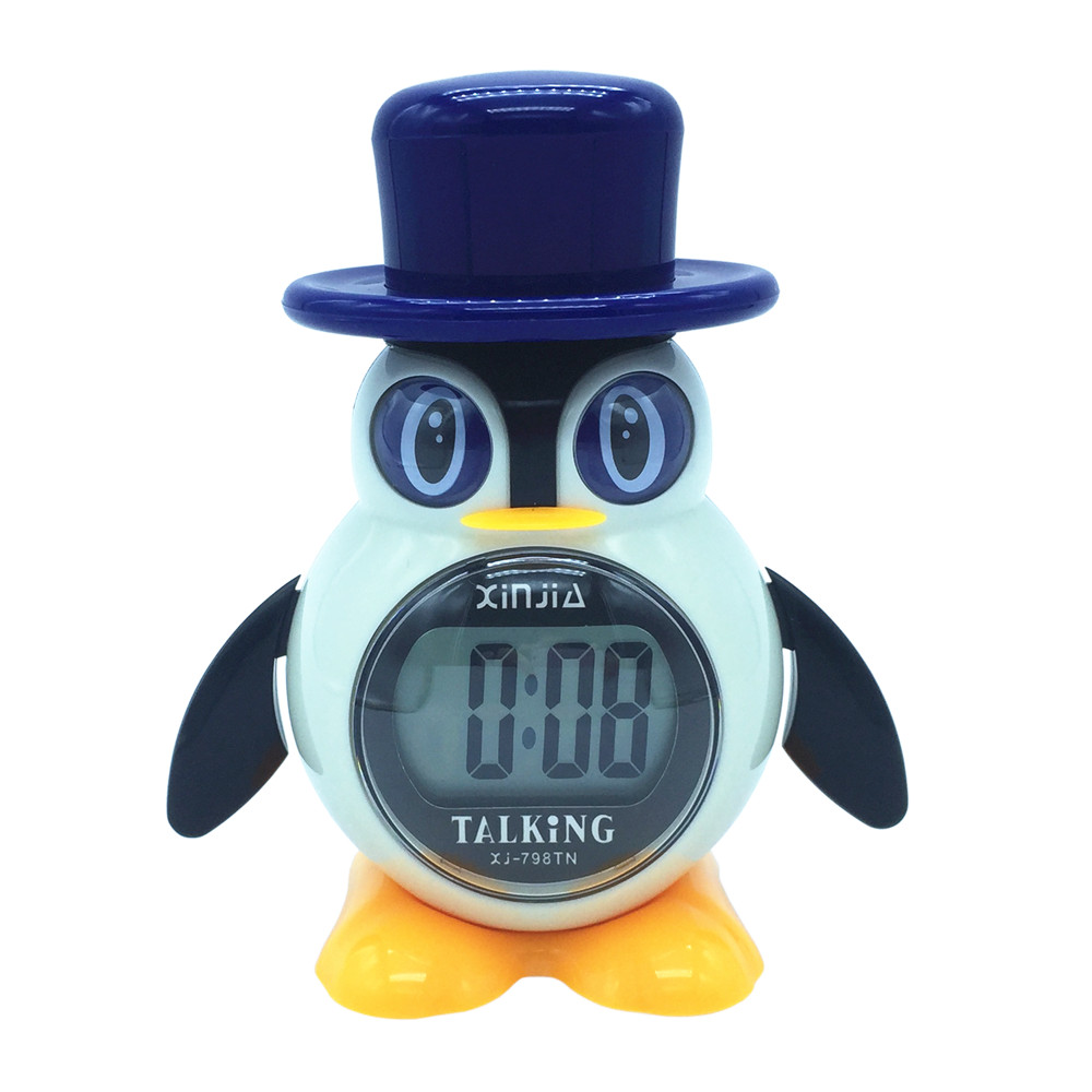 Spanish Talking LCD Digital Alarm Clock Penguin Shape Gifts For Children