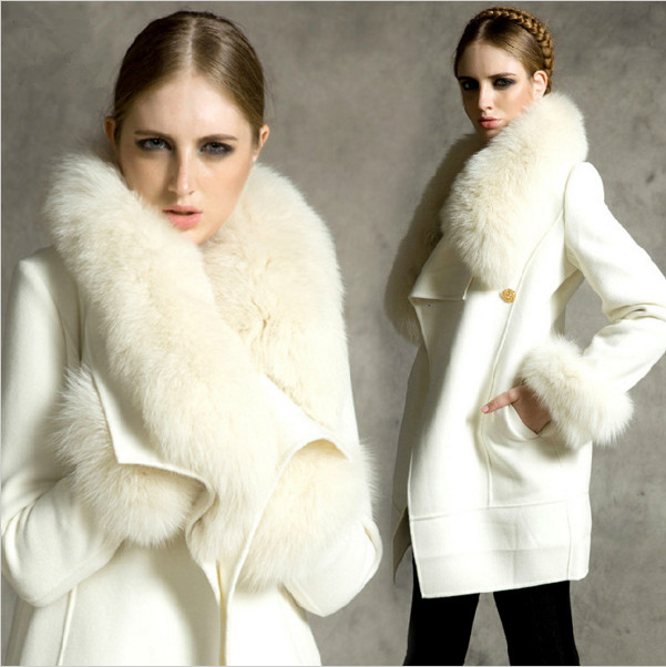 Popular White Coat Fur Collar-Buy Cheap White Coat Fur Collar lots ...