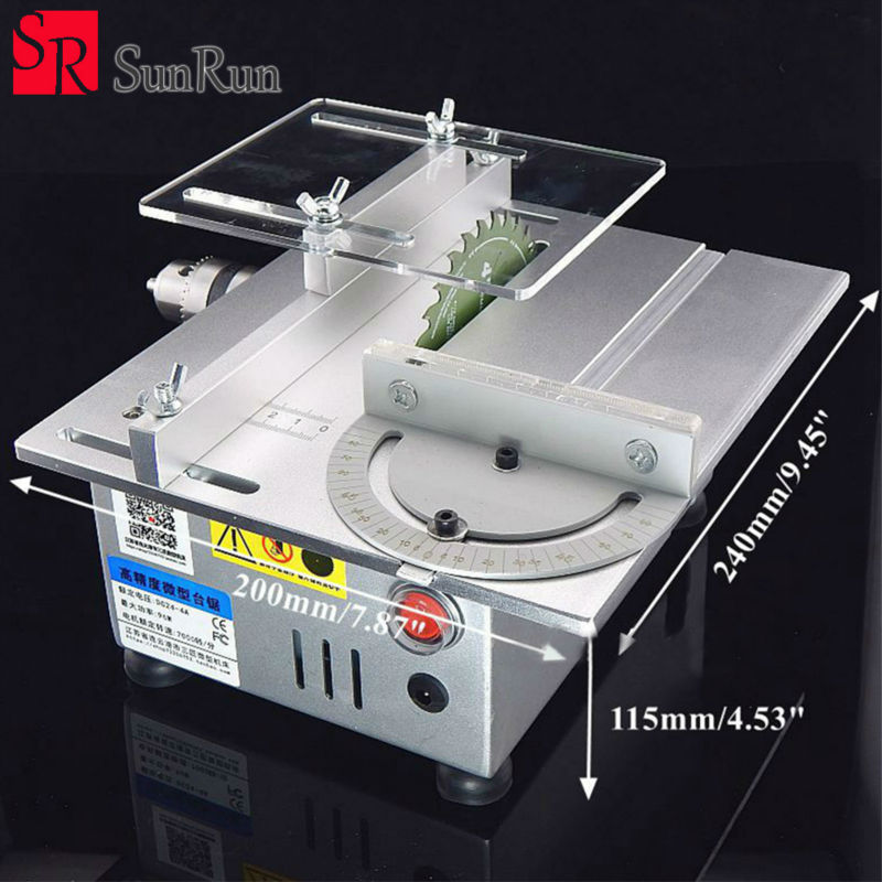Aluminum miniature table saw high precision DC 24V 7000RPM cutting machine DIY model saws precision carpentry chainsaw machine
