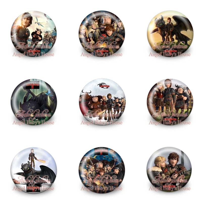 45pcs/lot How To Train Your Dragon Cartoon Figures Badges Brooch Cloth/Bags Accessories Pins Round Buttons Kid Gift Party Favors