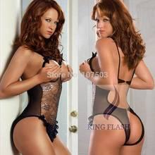 2014 Nova Arriavls Black Lace Sexy Lingerie One Piece Sleepwear Underwear Uniforme fantasias sexuais SV004024