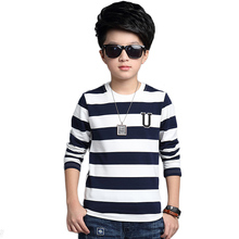 2016 Autumn Boys T-Shirts Long Sleeve Kids T Shirt Children Stripes Children T Shirts For Boys Top Children Clothes XC35