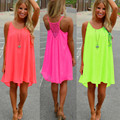 2017 Summer Dress Women Sexy Off Shoulder Casual Solid Chiffon Vestidos Ladies Spaghetti Strap Beach Short Dresses Plus Size