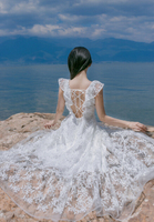 Free Shipping Sexy Bohemian Style Off Shoulder Ruffles Backless Lace Hollow out Flower Embroidery Long Chiffon Dress White