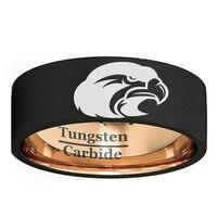 Для мужчин Для женщин Вольфрам кольцо 8 мм черного и розового золота Цвет обручальное кольцо с животных Орел лазером Размеры 7 13