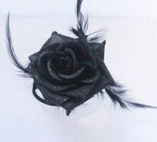 2017 Preto Big Rose Flor Headbands Acessórios Para o Cabelo Grampos de cabelo das Mulheres do Sexo Feminino Da Menina Floral Presilhas Headwear Enfeite de Cabelo Mulher
