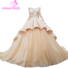 AOLANES Long Sleeve Wave Ball Gown Wedding Dress Gown