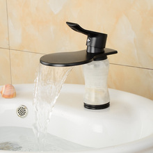 Unique Design Waterfall Basin Sink Faucet Waterfall Bathroom Mixer Tap Deck Mount One Handle