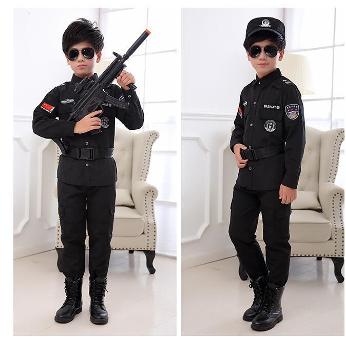 Boys Police Kids Uniform Children Cosplay Policemen Costumes Special Army Military Uniform Kindergarten Performance Clothing Set Home