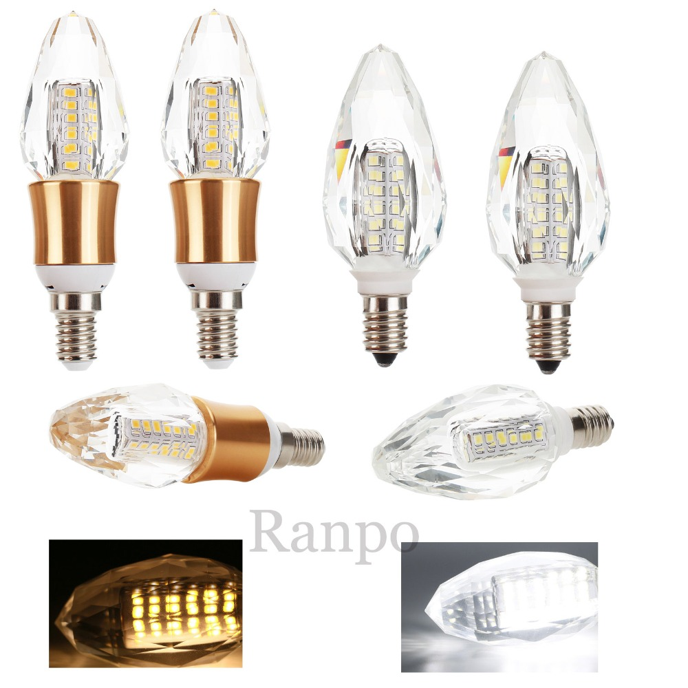 E14 LED Candle Bulb Crystal 7W 2835 SMD 220V 50W Halogen Lamp Replacement Bright Warm Cool White LED Corn Lights For Floodlights candle led bulb e14 9w 12w aluminum shell e14 led light lamp 220v golden silver cool warm white ampoule lampara led smd 2835