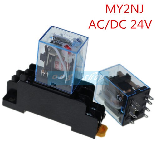 8 Pin MY2NJ Relay 24 V DC Small Relay 5A DPDT Coil With Base Socket -Y103 220 240v ac coil dpdt power relay my2nj 8pin 5a