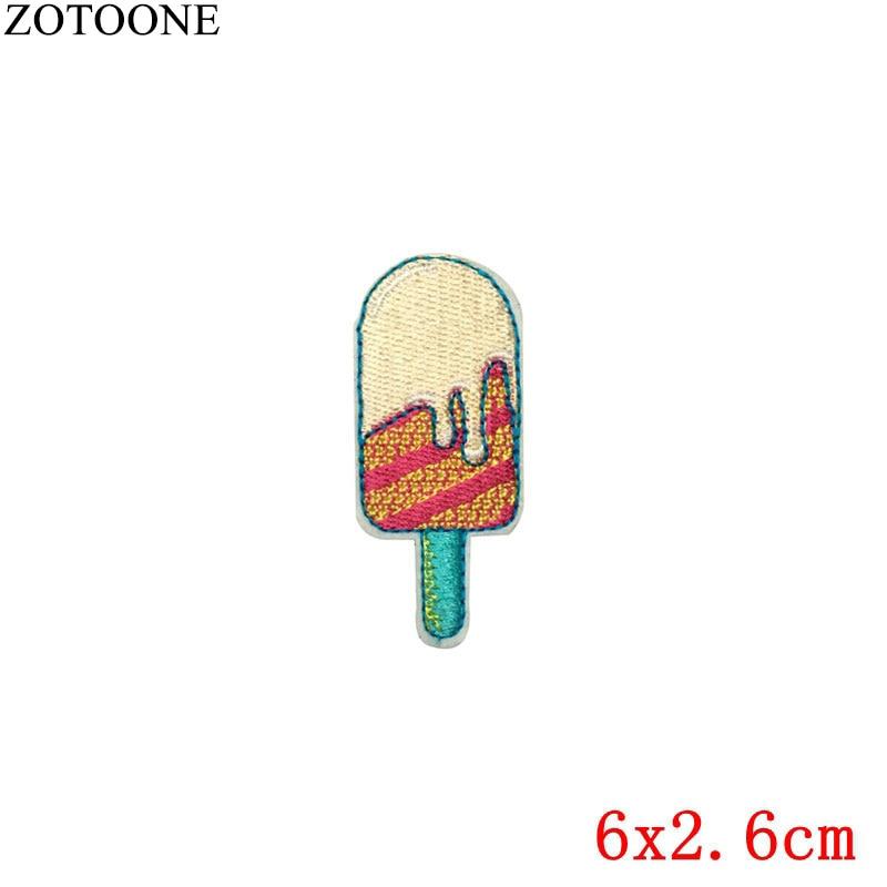 Ice Cream Embroidered Iron On Applique Patch Sherbet W//ORANGE Twist
