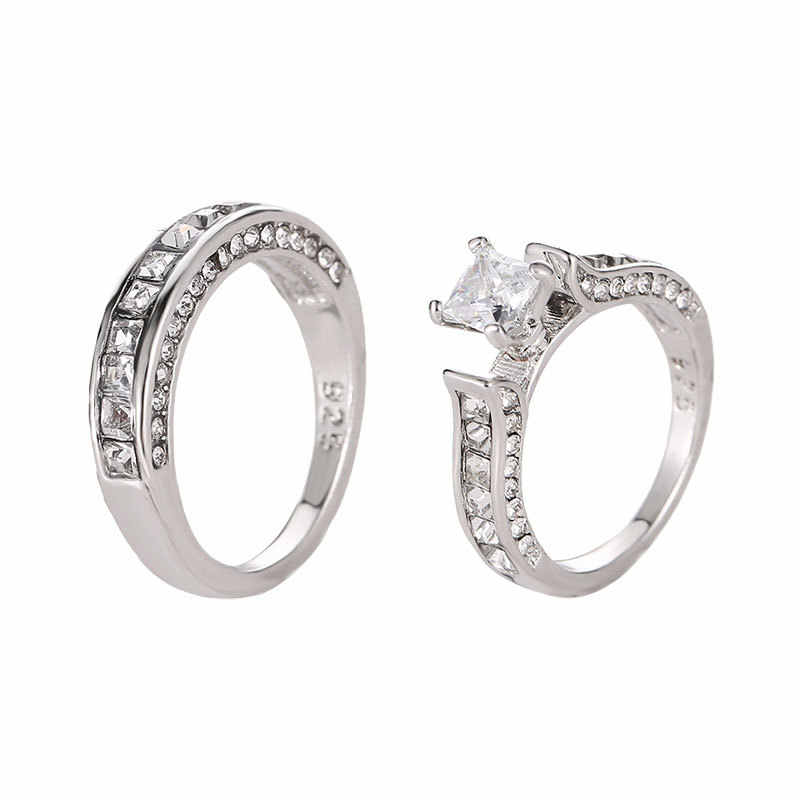 Stainless Steel Wedding Ring Couple two-piece zircon ring Couple Rings Set Engagement Wedding Rings