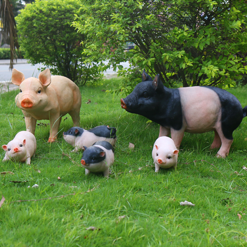 Gardening Decorations Ornaments Resin Crafts Simulation Animal Big Black Pig  On The White House Garden Courtyard