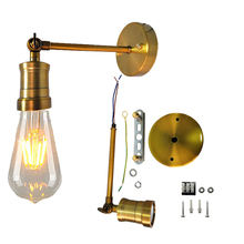 נורדי Creative מתכוונן E27 קיר אור רטרו ברזל זהב ברונזה מעבר קיר מנורת הבר מסעדת חדר שינה קפה דירה מלון