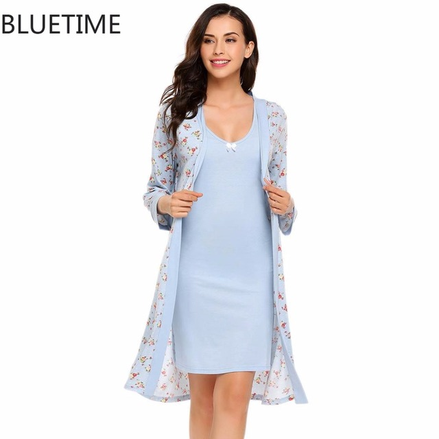 Women Floral Print Robe Female Warm Bathrobe Nightwear Sleepwear ...
