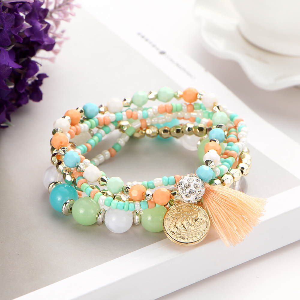 17KM Crystal Multicolor Beads Weave Tassel Bracelet Multilayer Coin Bracelets For Women 2018 New Punk Pulseira Accessories Gift 2