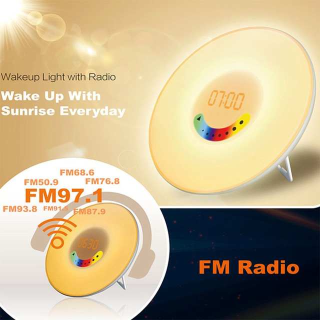 Creative RGB Sunrise Simulation Alarm Clock Light Touch induction Digital Wake Up LED Lamp with FM Radio & Snooze Function New