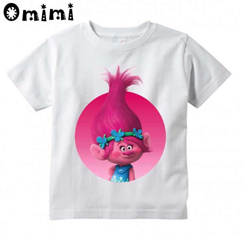 Children's Cartoon Trolls Printed T Shirt Kids Great Casual Short Sleeve Tops Boys and Girls White Cute T-Shirt cute scoop neck short sleeve zebra printed t shirt for women