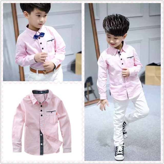 Hot Sale Children Boys Shirts Cotton 100% Solid Kids Shirts Clothing For 4-12 Years Wear at school
