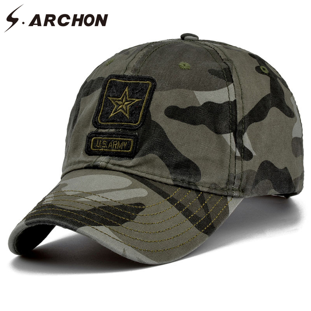 2146ebc9070 S.ARCHON Tactical Camouflage Baseball Caps Men Embroidery 100% Cotton  Paintball Military Hats Women Camo Airsoft Combat Army Cap