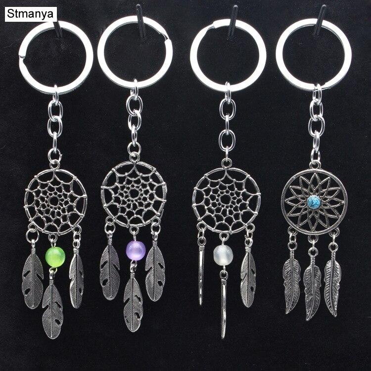 New Fashion Catch The Dream Car Key Chain Feather Metal Keychain Men Women Key Holder Valentine 's Gift  Car Key Rings K1527