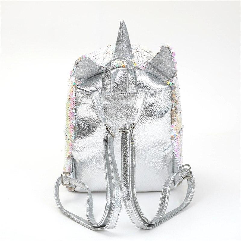 New Sequins Unicorn Backpack Women Pu Leather Mini Travel Soft Bag Fashion Schoolbag For Teenager Student Girls Book Bag Satchel #3