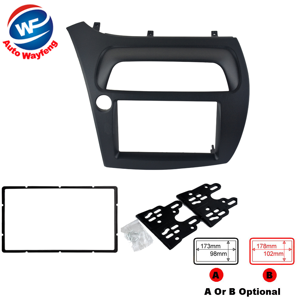 цены  Double Din Fascia Fit  Radio DVD Stereo CD Panel Dash Face Frame Mounting Installation Trim Kit For Honda Civic