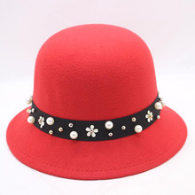 BINGYUANHAOXUAN Women Solid Felt Woolen Hats Black Red Vintage Western Bucket for Female Bowler with Straps