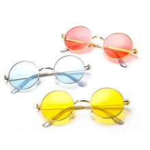 e82f04c1b0630 Mulheres Redondas Do Vintage Óculos de Sol Óculos de Armação de Metal da  Marca Doce Cor