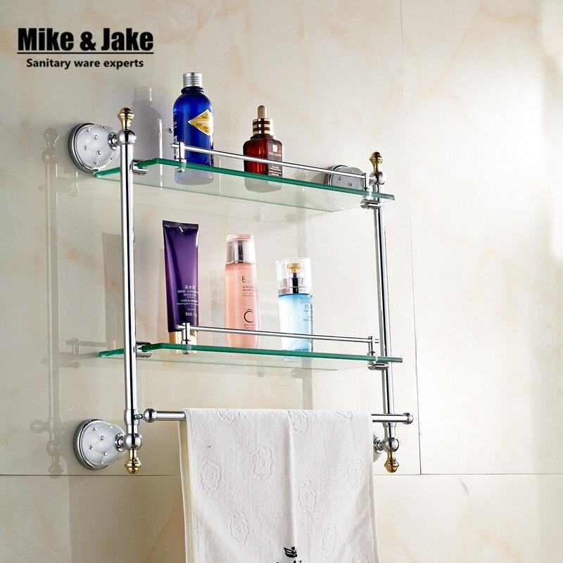 Bathroom glassshelf Solid Brass chrome Finish wall glass shelf With ...