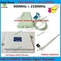 Display LCD GSM 3G UMTS 900 2100 MHz Sinal de Telefone Celular Dual Band GSM repetidor 3g Amplificador de Sinal De Reforço + Antena de Celulares