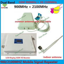 LCD-Display GSM 3G UMTS 900 2100 MHz Handy Signal Repeater Dual Band GSM 3g Celulares Signal Booster Verstärker + Antenne