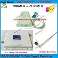 Pantalla LCD GSM 3G UMTS 900 2100 MHz Señal Del Teléfono Móvil repetidor Amplificador de Señal de Banda Dual GSM 3g Celulares Amplificador + Antena