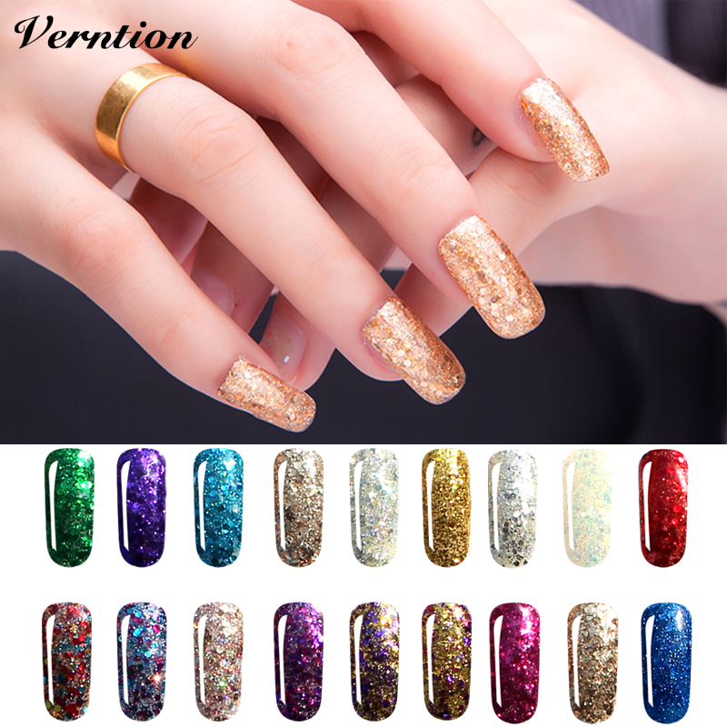 Verntion Shimmer Gloss UV Gel Varnish Top Diamond Glitter Nail Gel Polish Primer Manicure Painting Soak Off Lasting Gel Polish