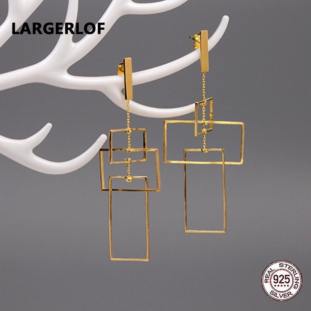 LARGERLOF Real 925 Sterling Silver Fine Jewelry Drop Earrings Female Handmade Geometric Earrings For Women ED49039 pair of faux gem geometric drop earrings