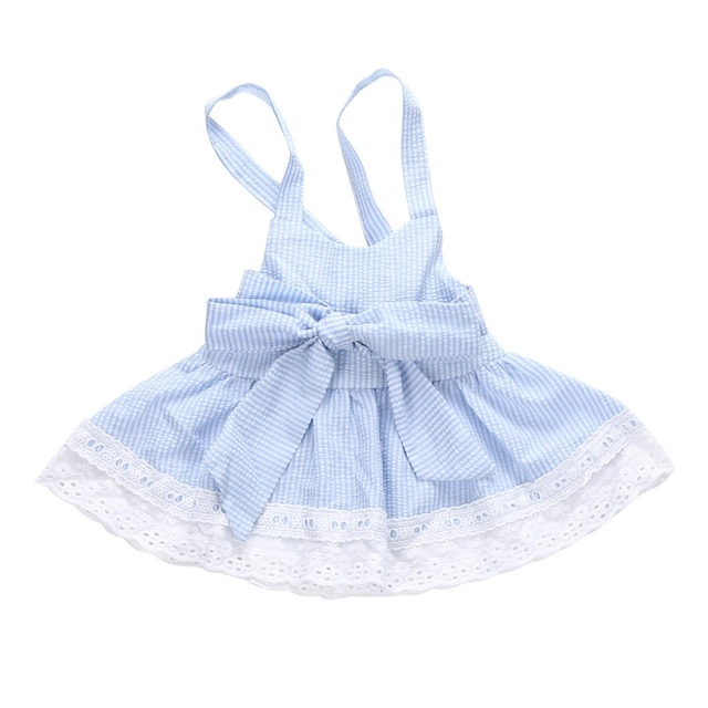 96ea6effbd09 Summer Light Blue Baby Girls Cute Bubble Yarn Blue Striped Dresses ...