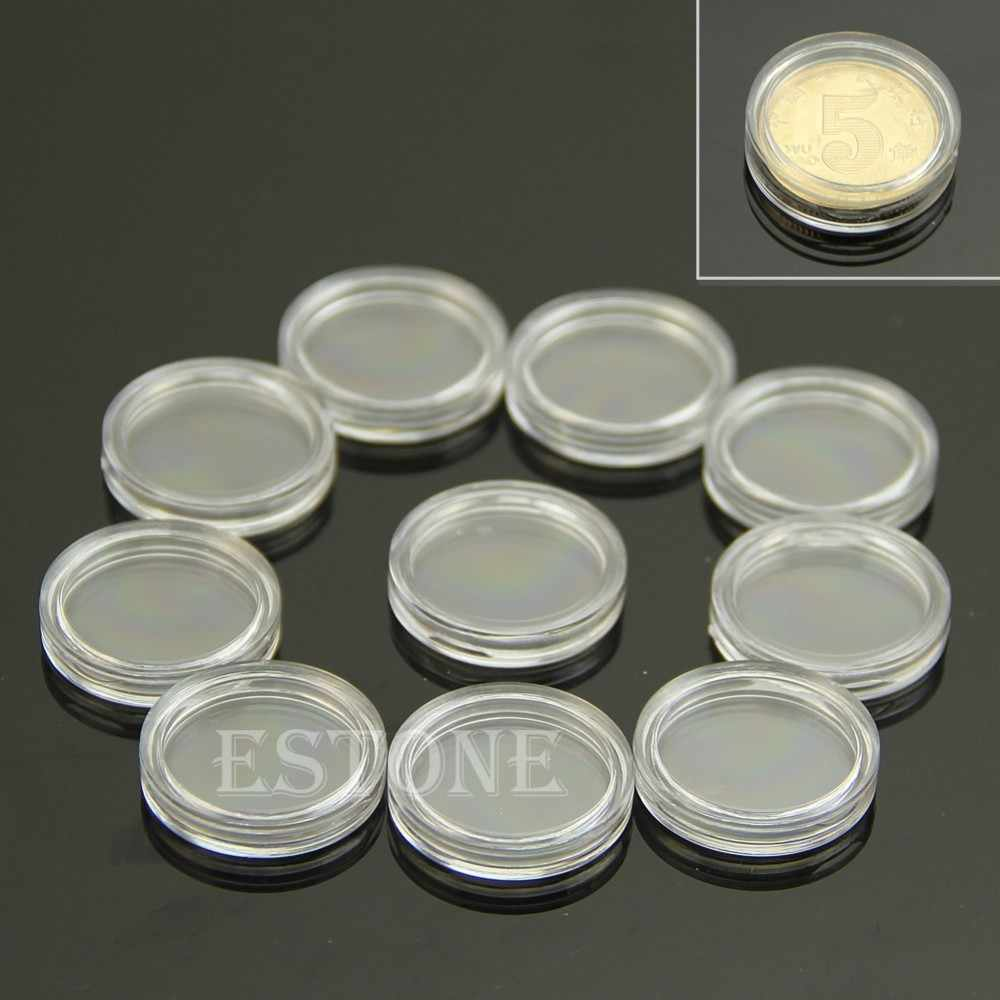 10 PCS Applied Clear Round Cases Coin Storage Capsules Holder Plastic 19mm Durable