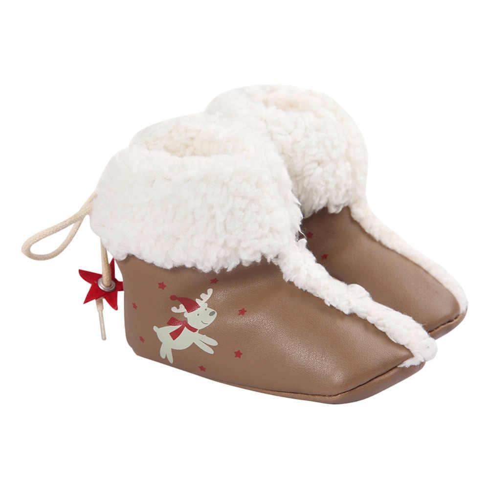 חג המולד חם מגפי תינוק ילד ילדה רך Sole עריסה Sneaker יילוד תינוקות נעלי מגפיים