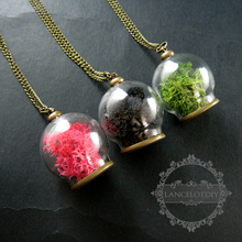 30mm vintage style dry pink,green,black sea weed in glass ball antiqued bronze pendant charm long sweater necklace 6350432